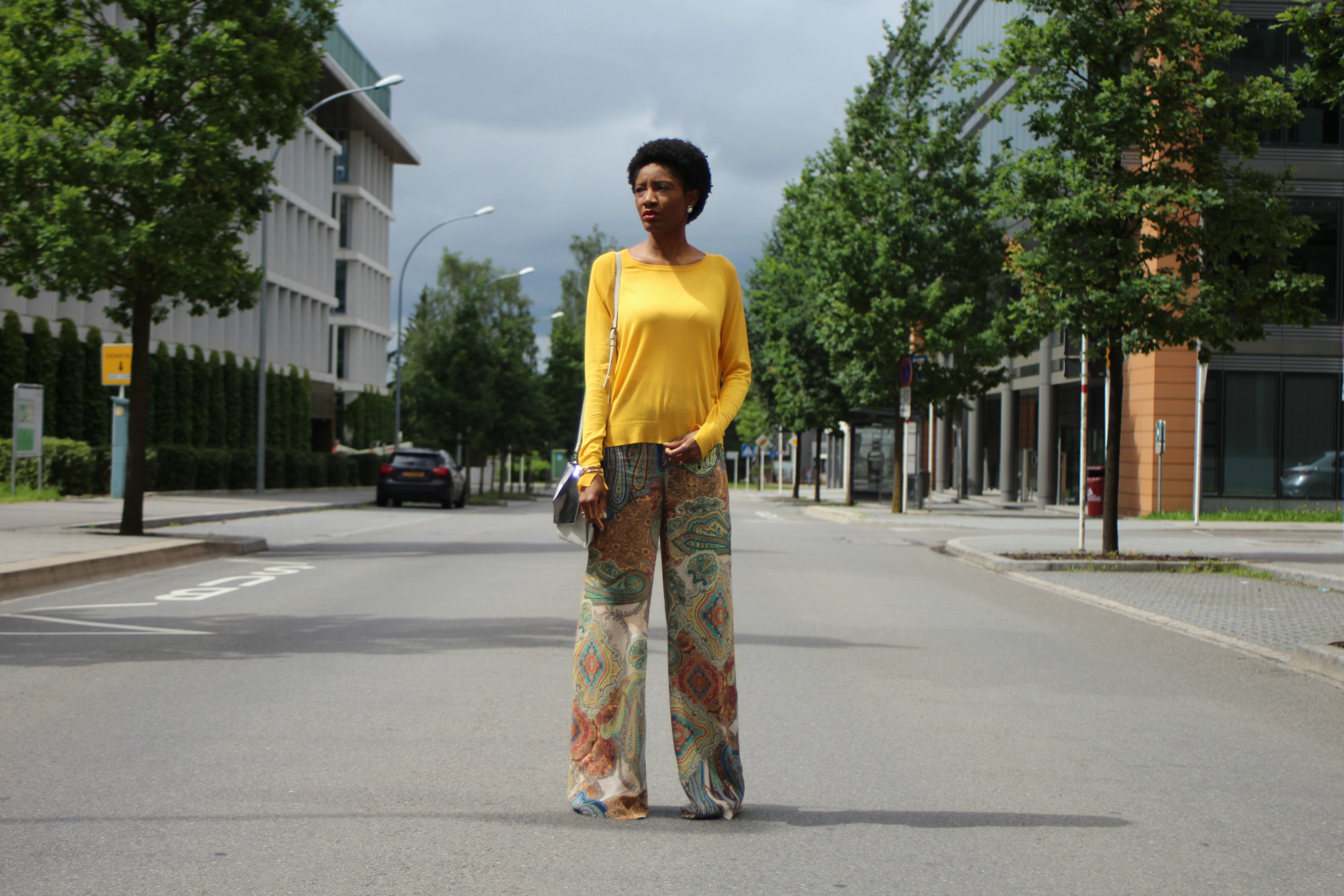yellow sweater printed palazzos