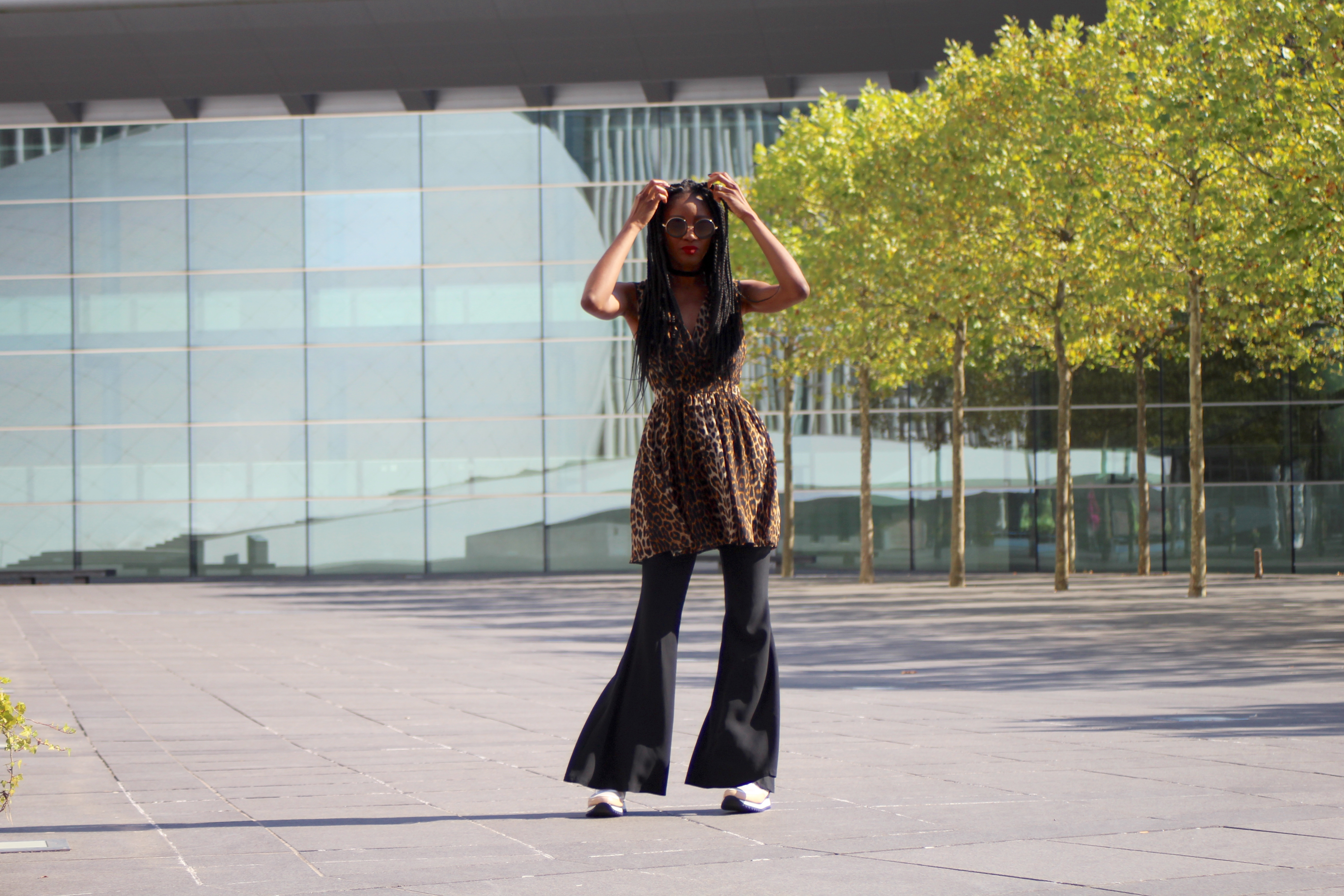 leopard print and flares