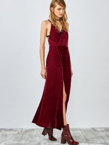 High slit velvet dress