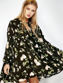 Zaful floral keyhole neck swing dress
