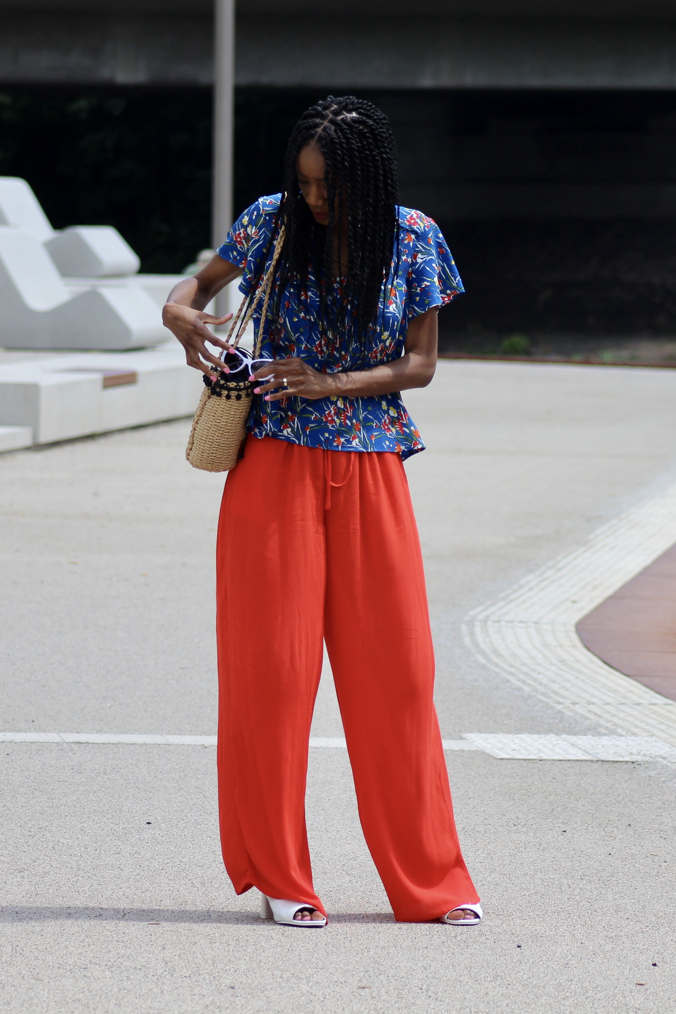 summer palazzo pants floral blue top