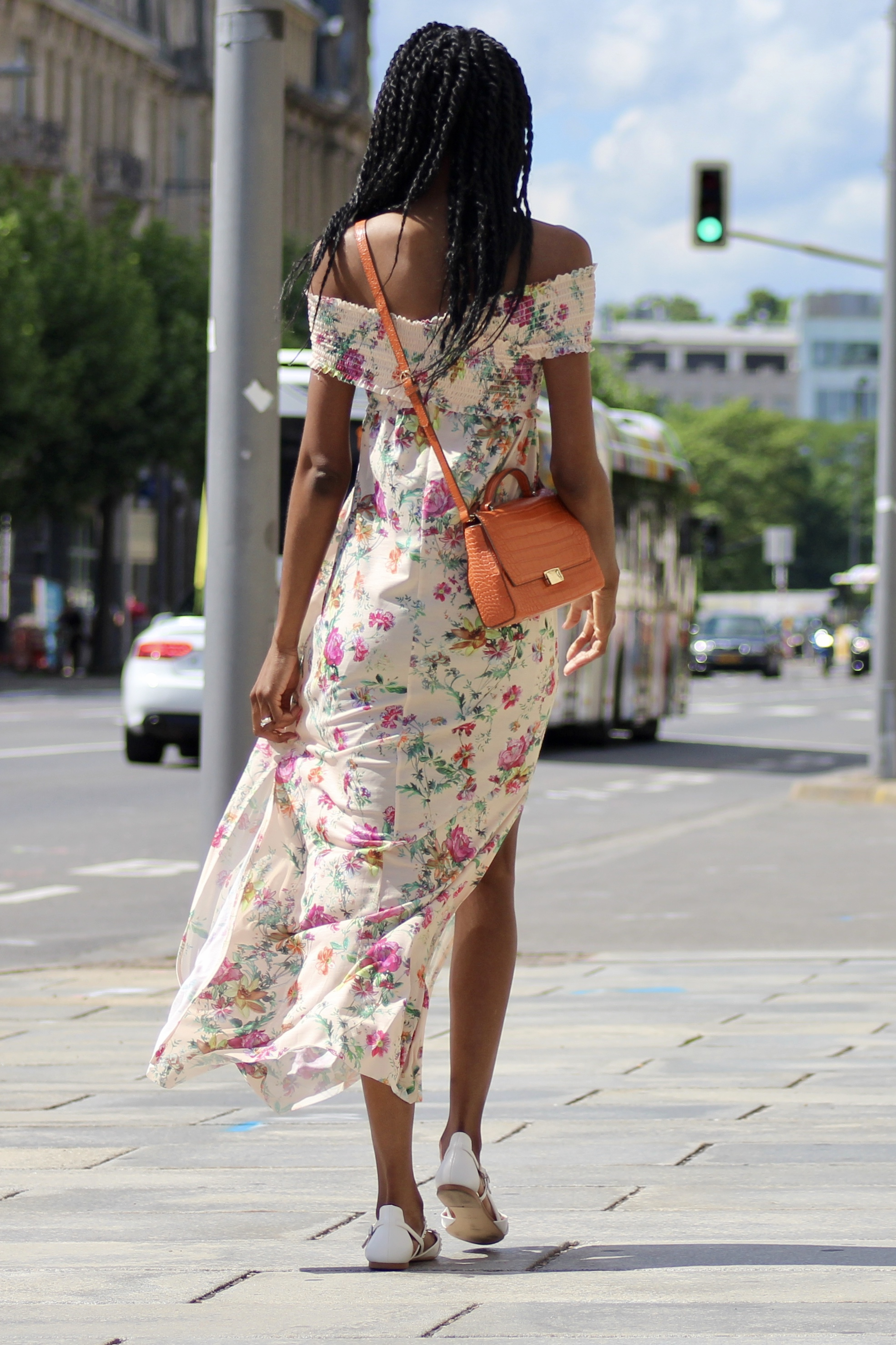 summer florals white flats outfit