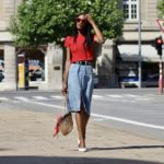 denim skirt red cropped t-shirt slingback shoes