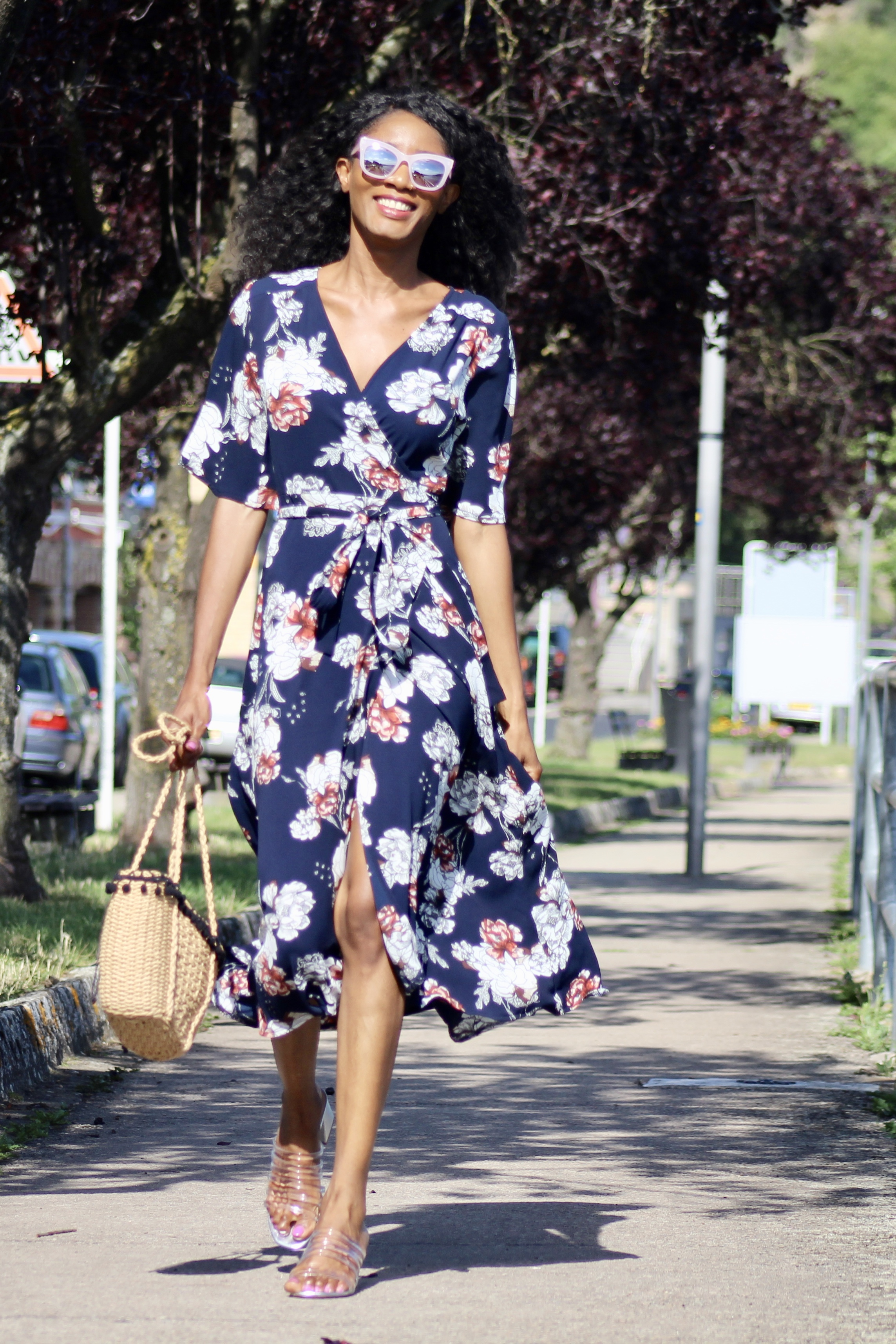 summer outfit floral wrap dress statement sunglasses