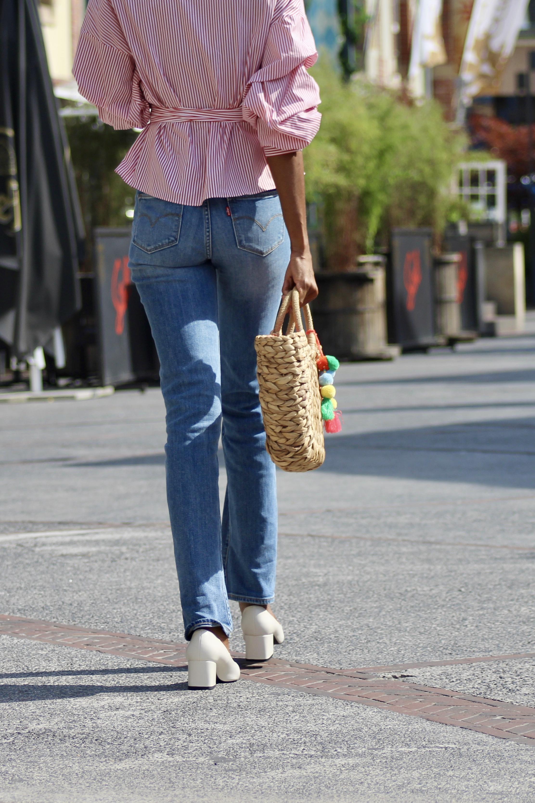 jeans red stripes basket bag