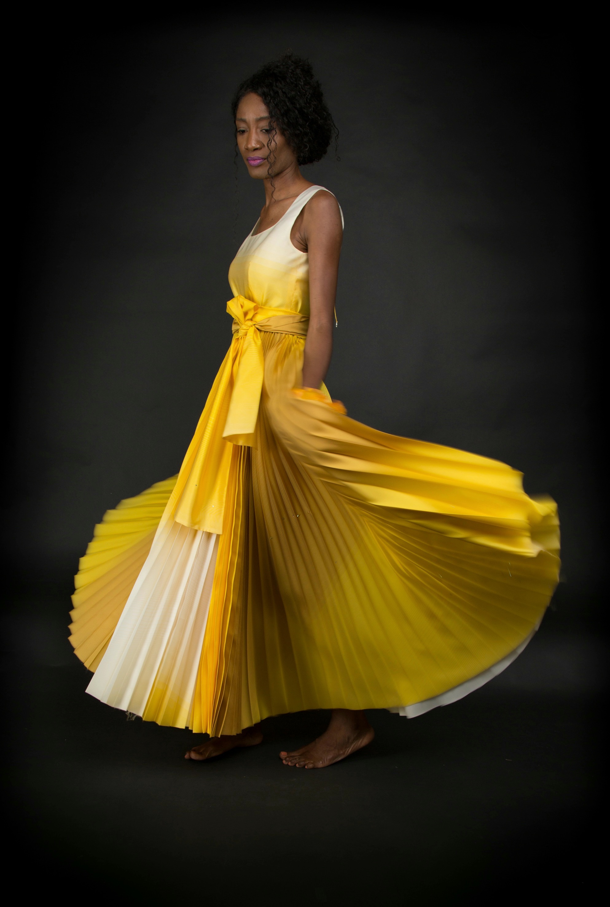 haute couture photoshoot Margret Gasper silk evening dress