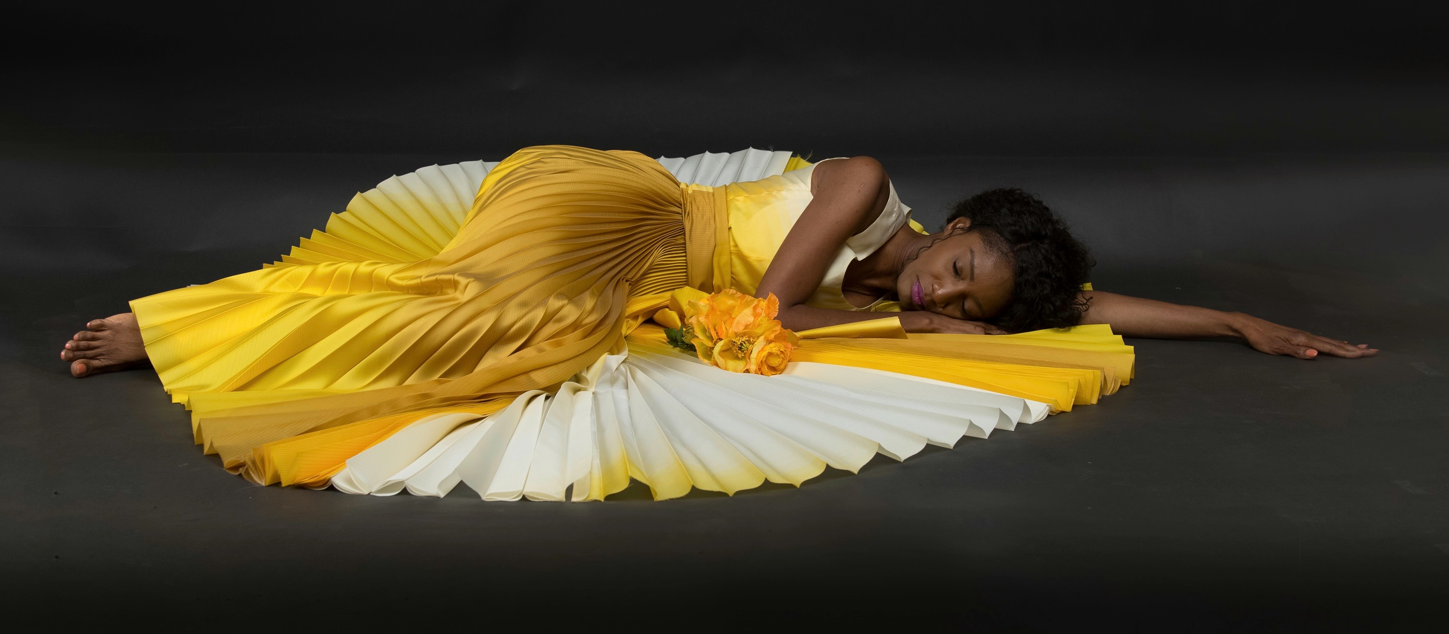 haute couture photoshoot Margret Gasper silk evening dress