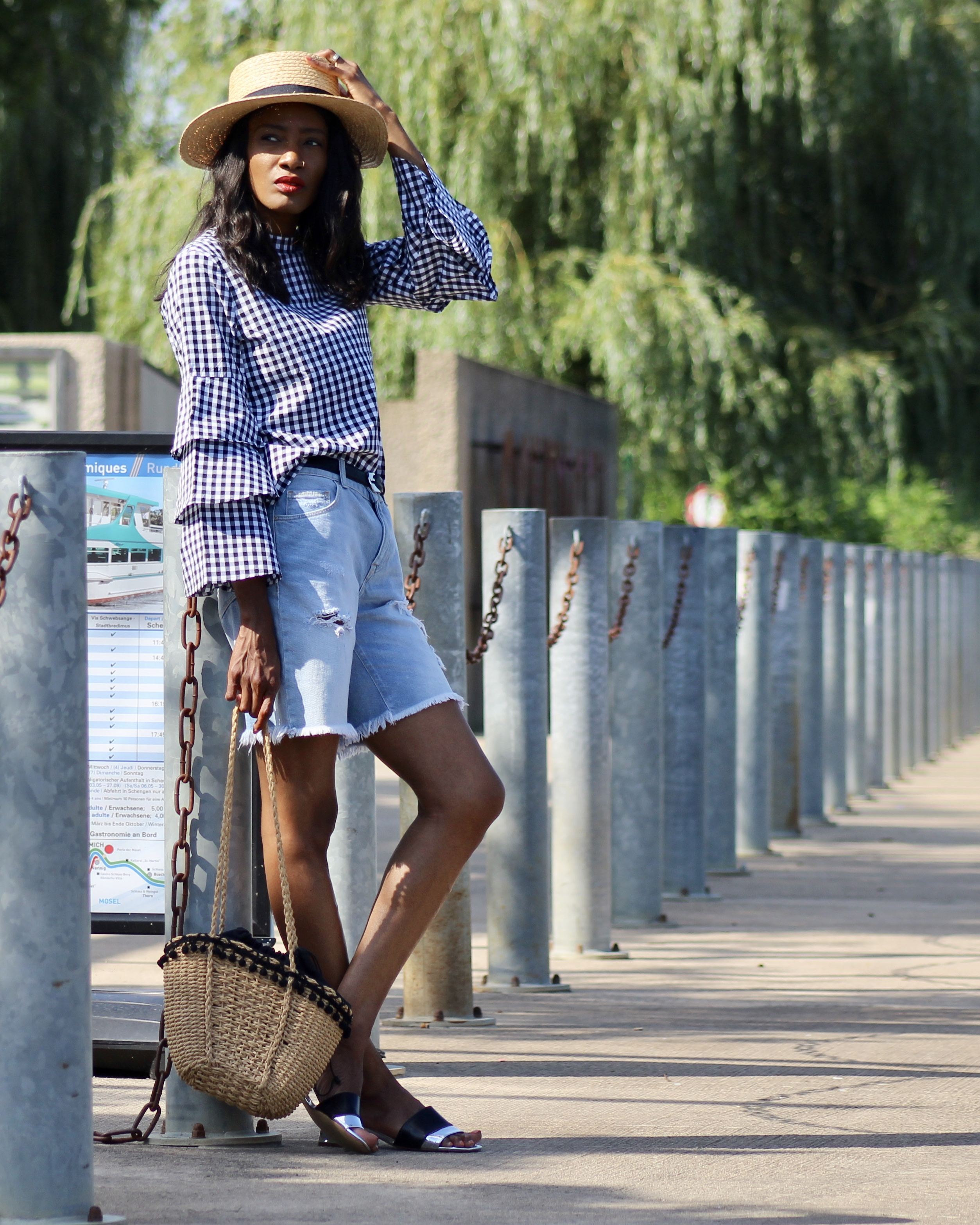 gingham top denim shorts straw hat sandals