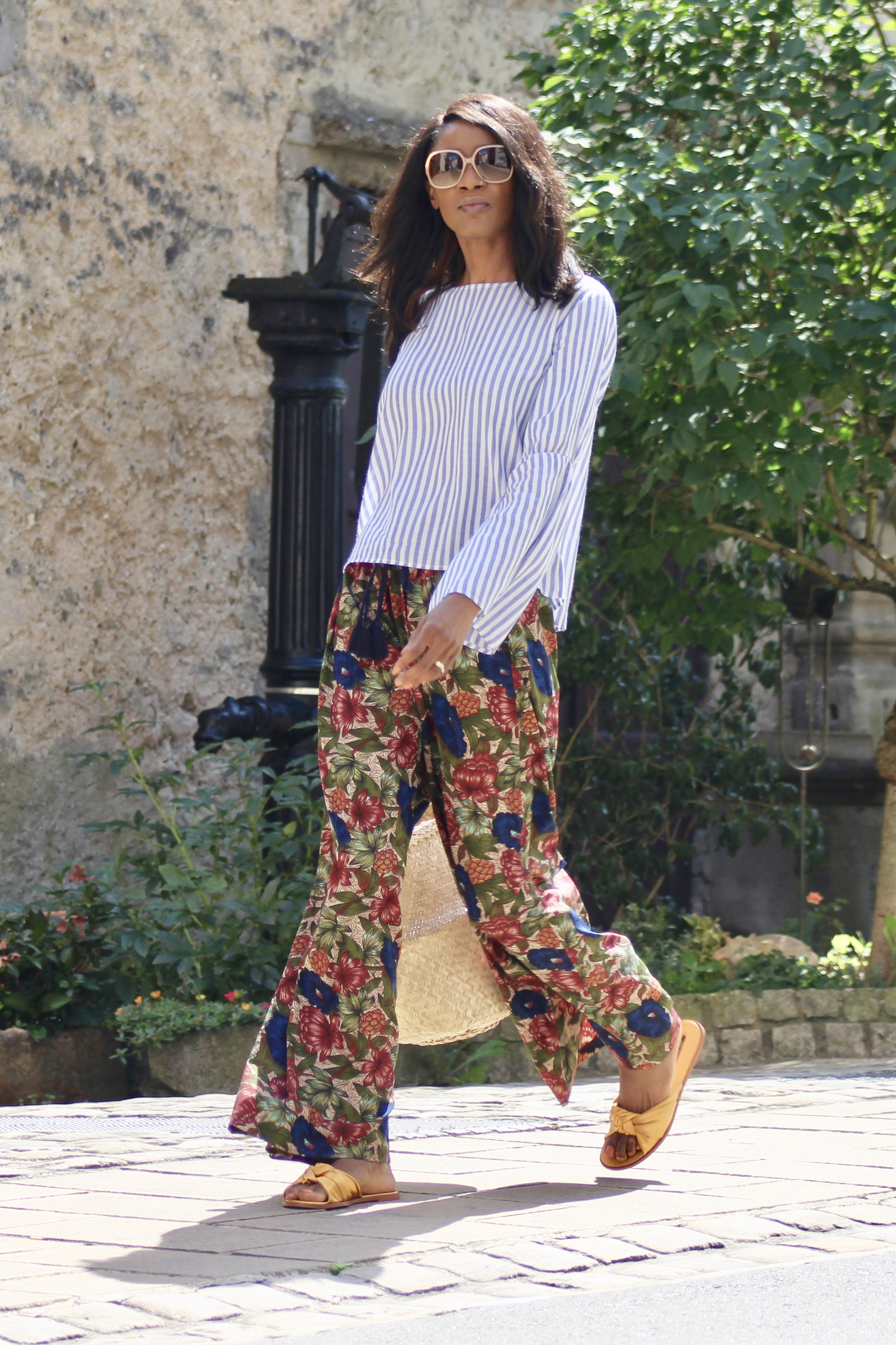 bell sleeve striped top floral palazzos