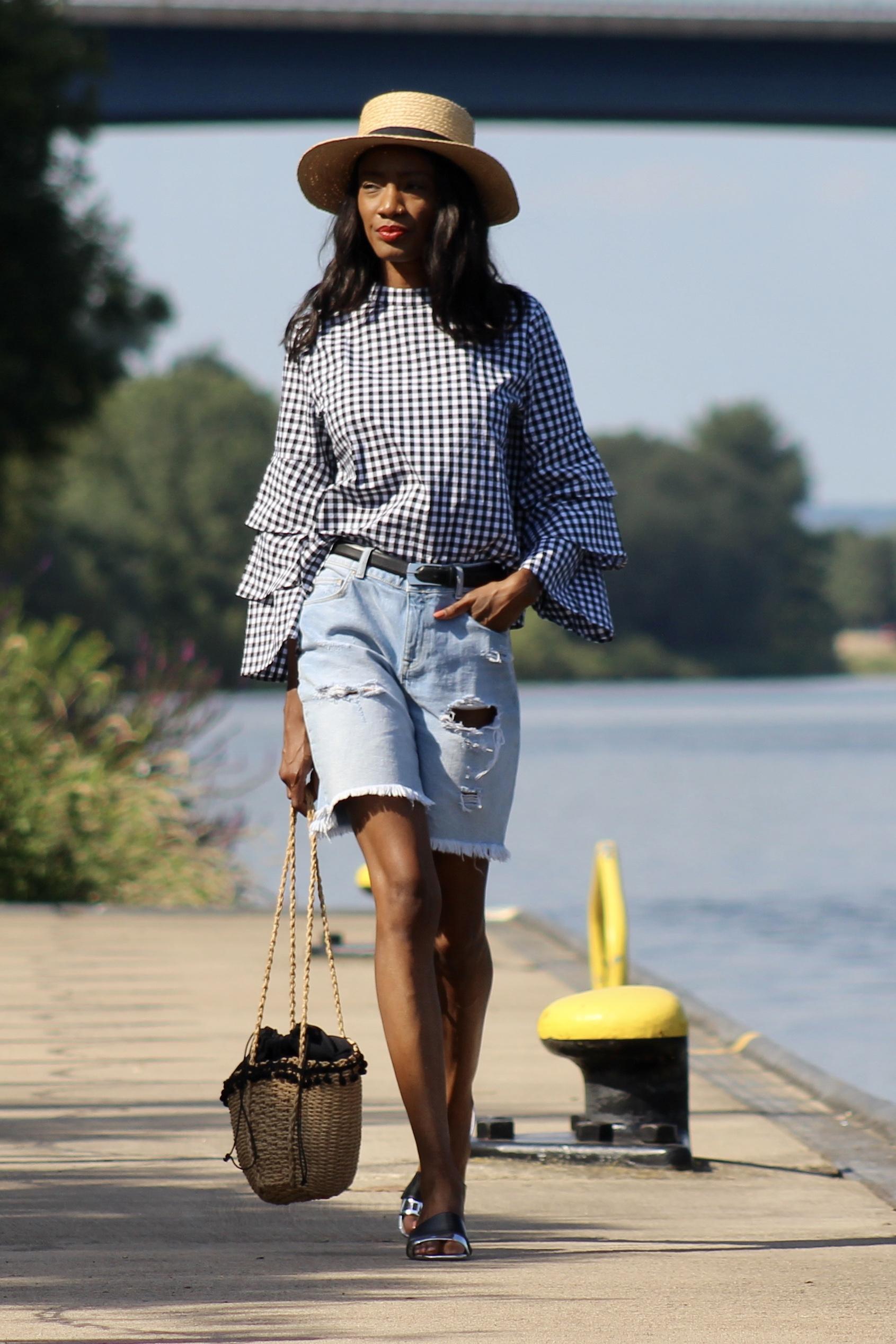 gingham top denim shorts straw hat sandals