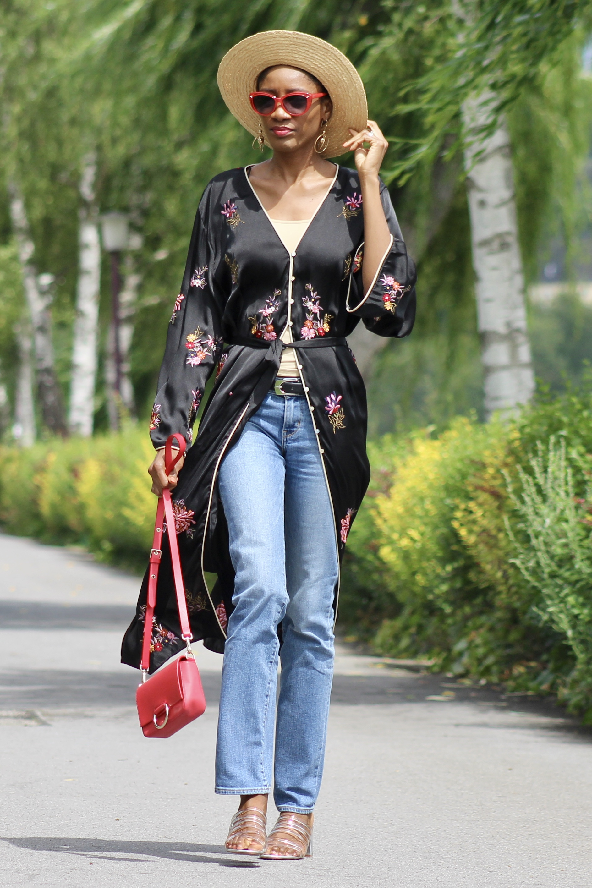 embroidered kimono jeans straw hat sandals