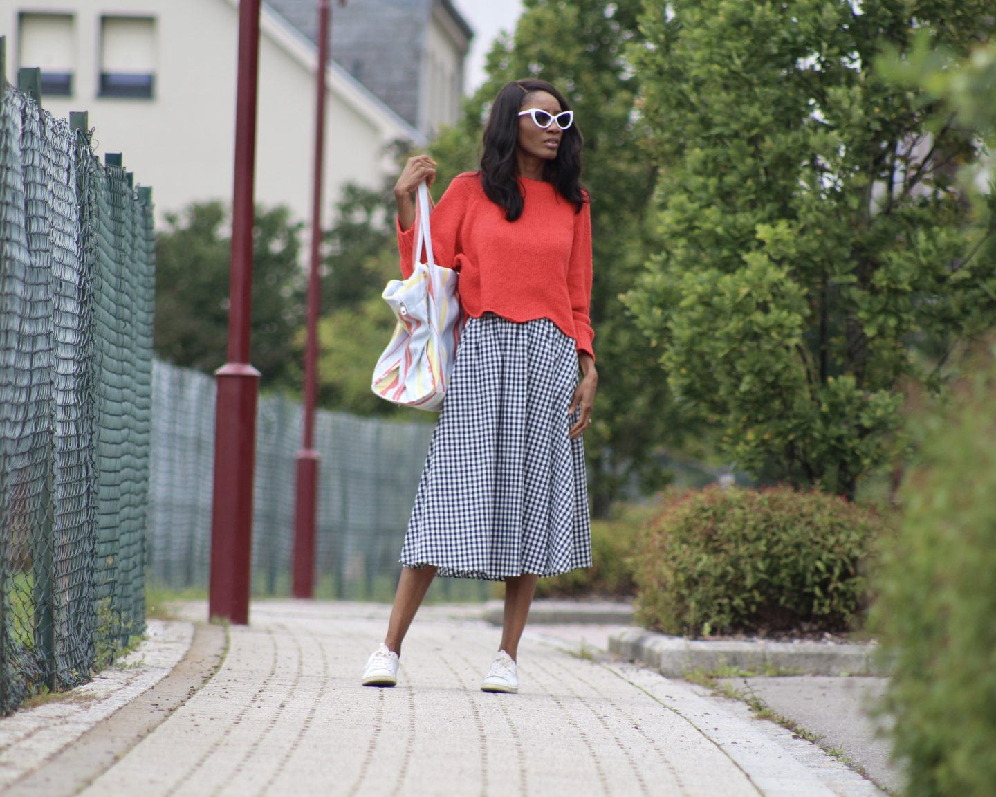 RED JUMPER & GINGHAM SKIRT