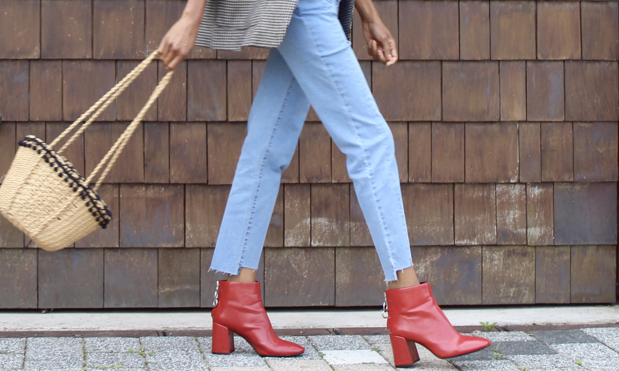 jeans blazer red ankle boots
