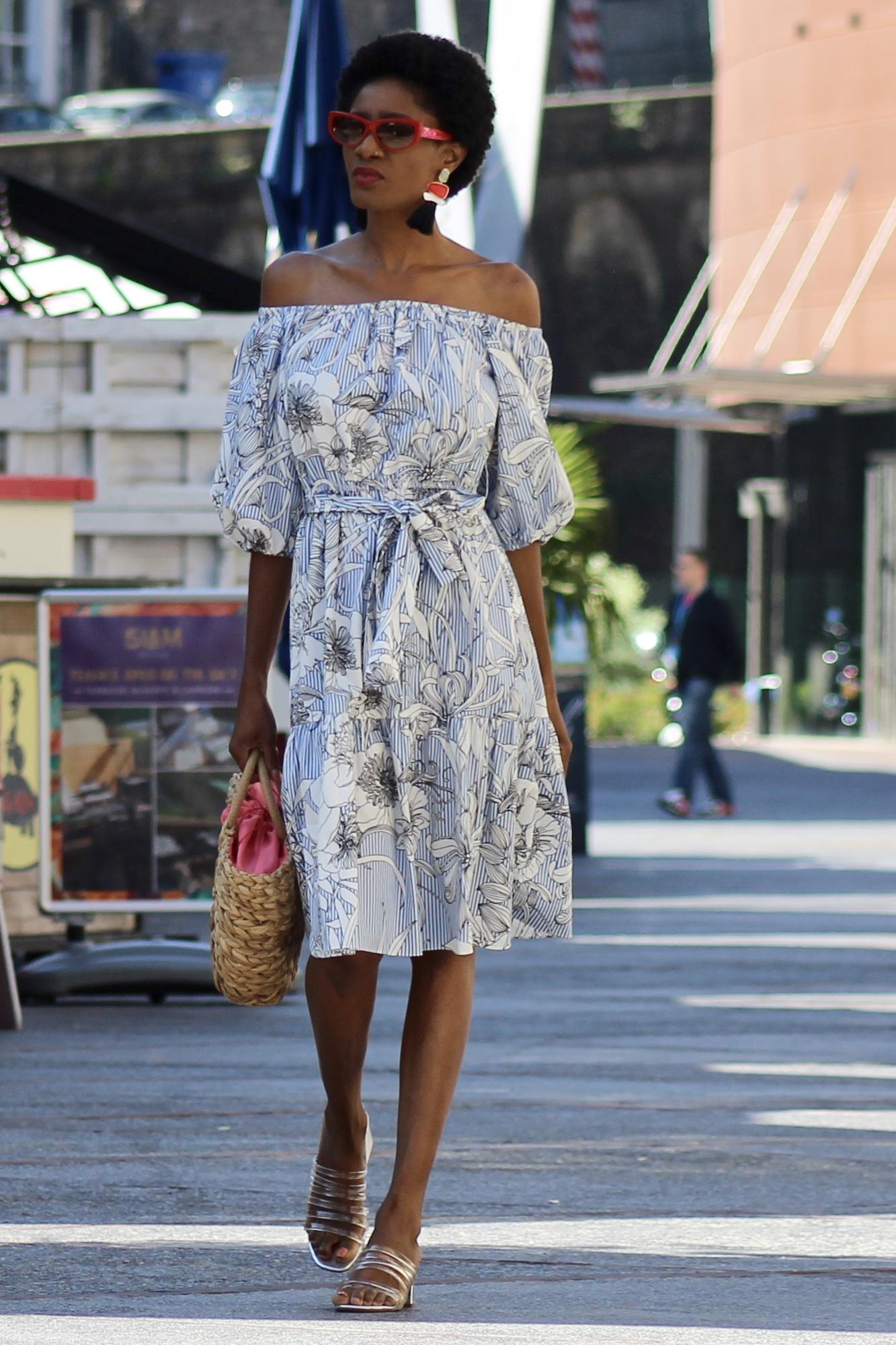 printed off shoulder midi dress sandals