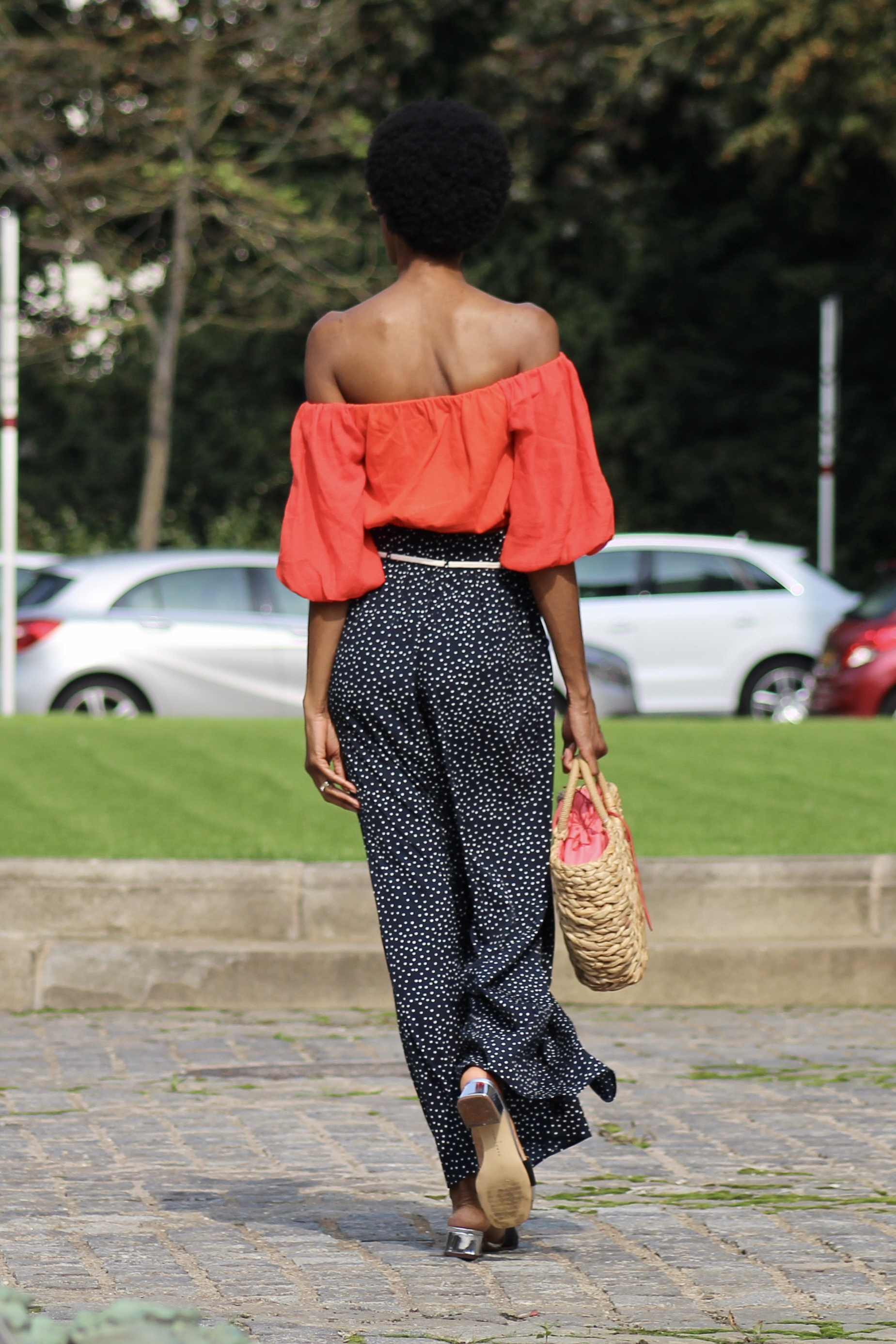 polka dots palazzos red cropped off shoulder top