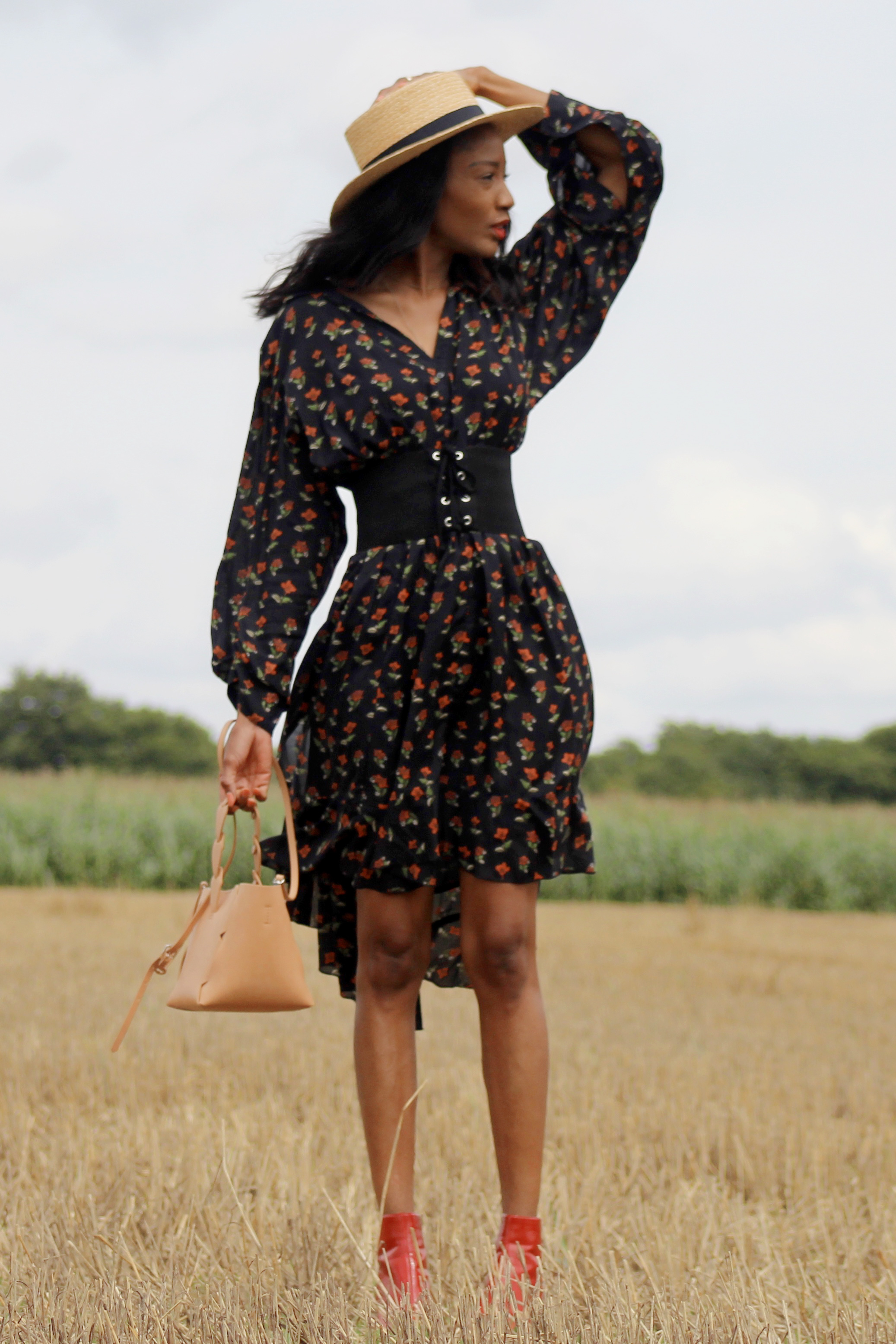 dark floral dress red boots hat