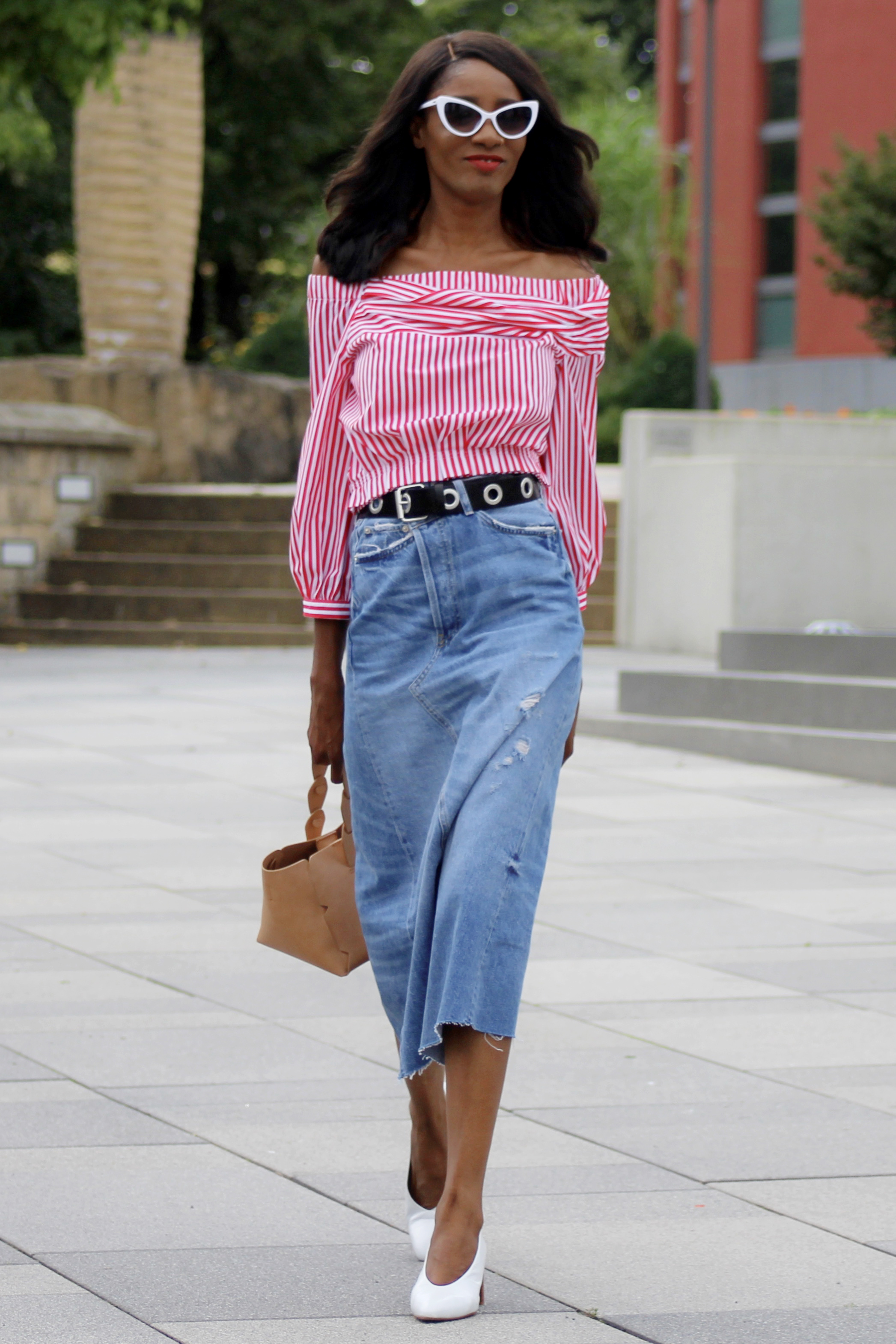 red stripes denim maxi skirt