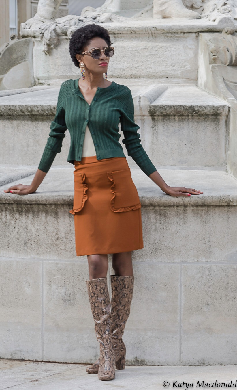 ruffle skirt cardigan high boots