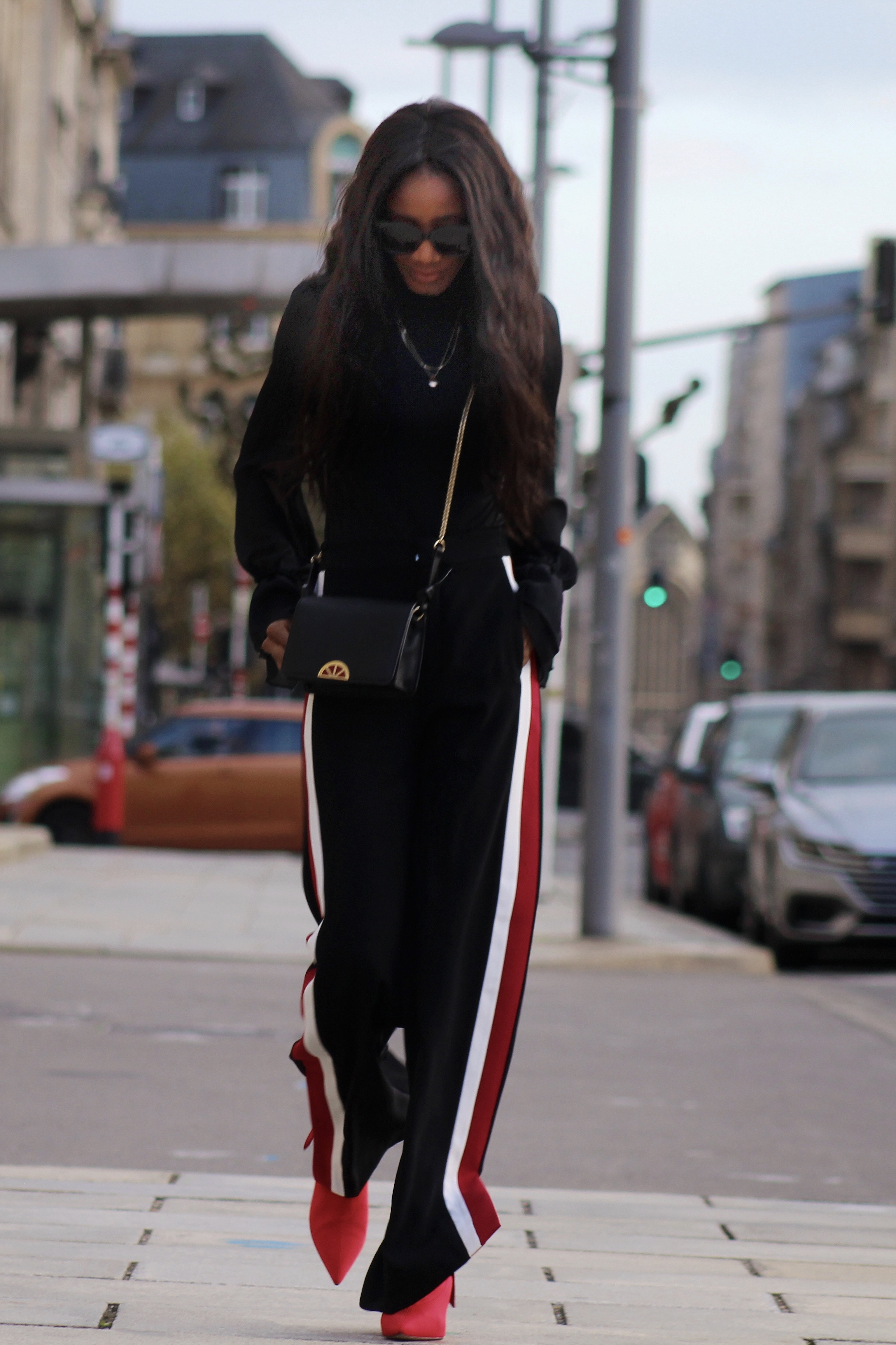 Side Stripe Pants Puffer Jacket Red Sock Boots Street Chic