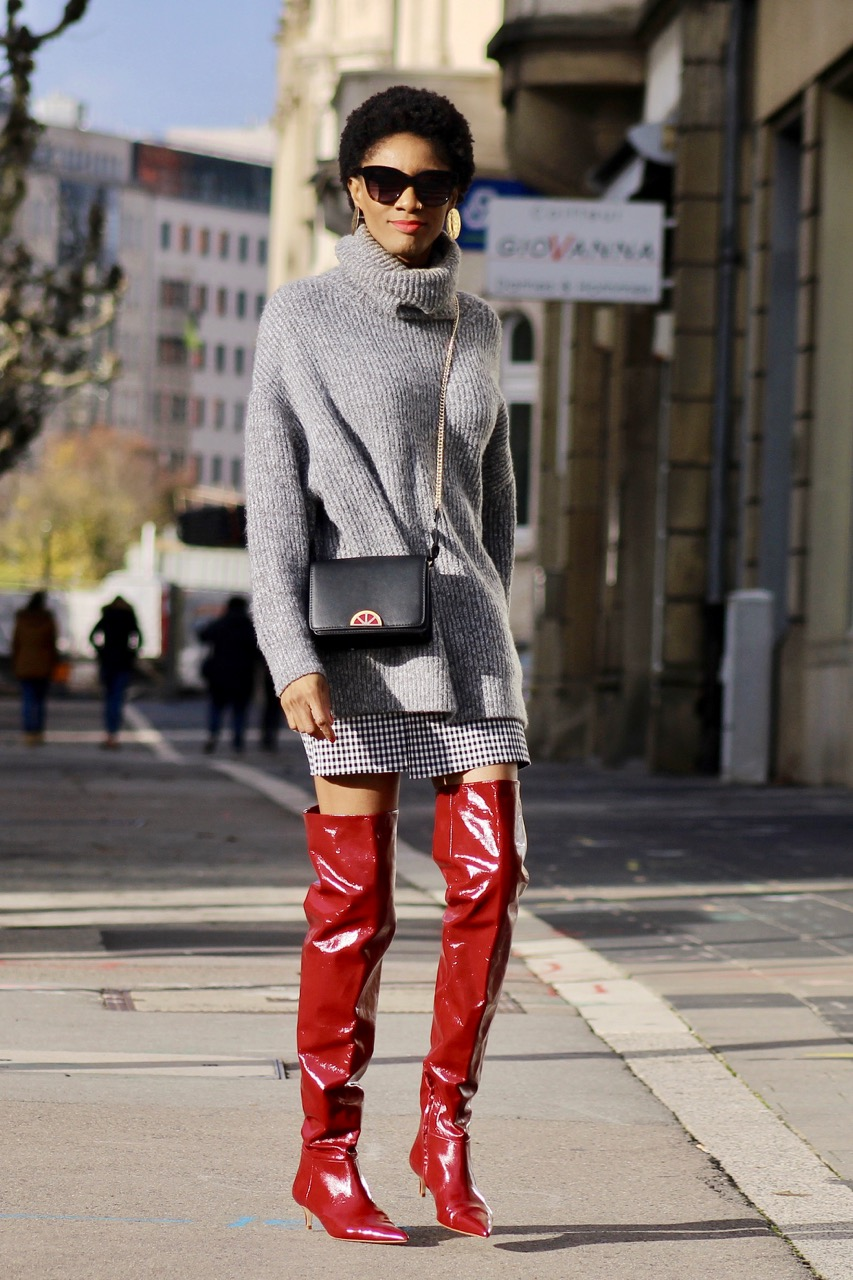 thigh high boots sweater