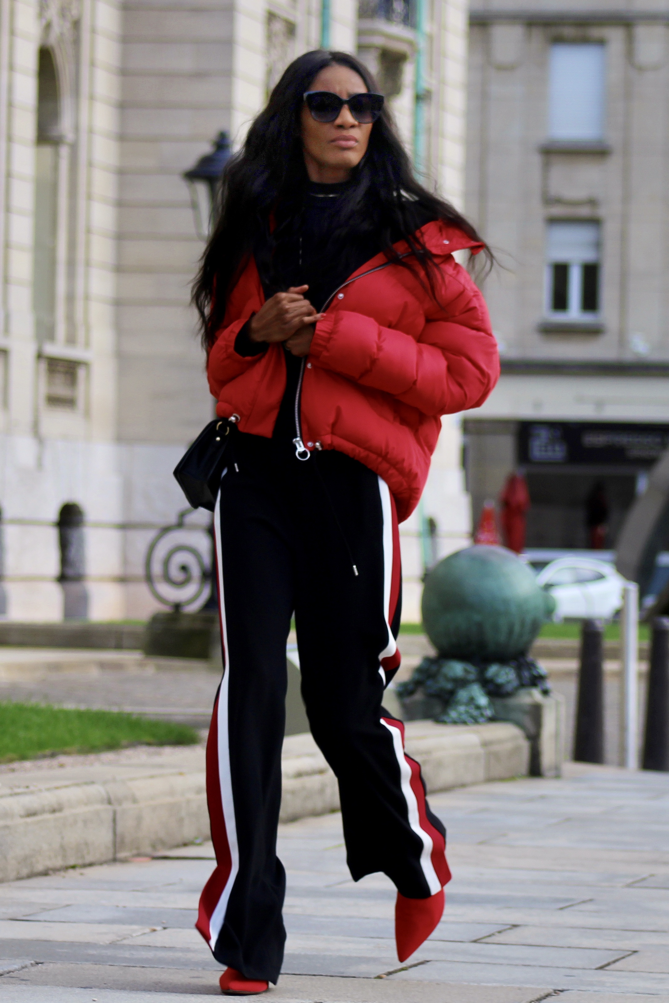 side stripe pants puffer jacket