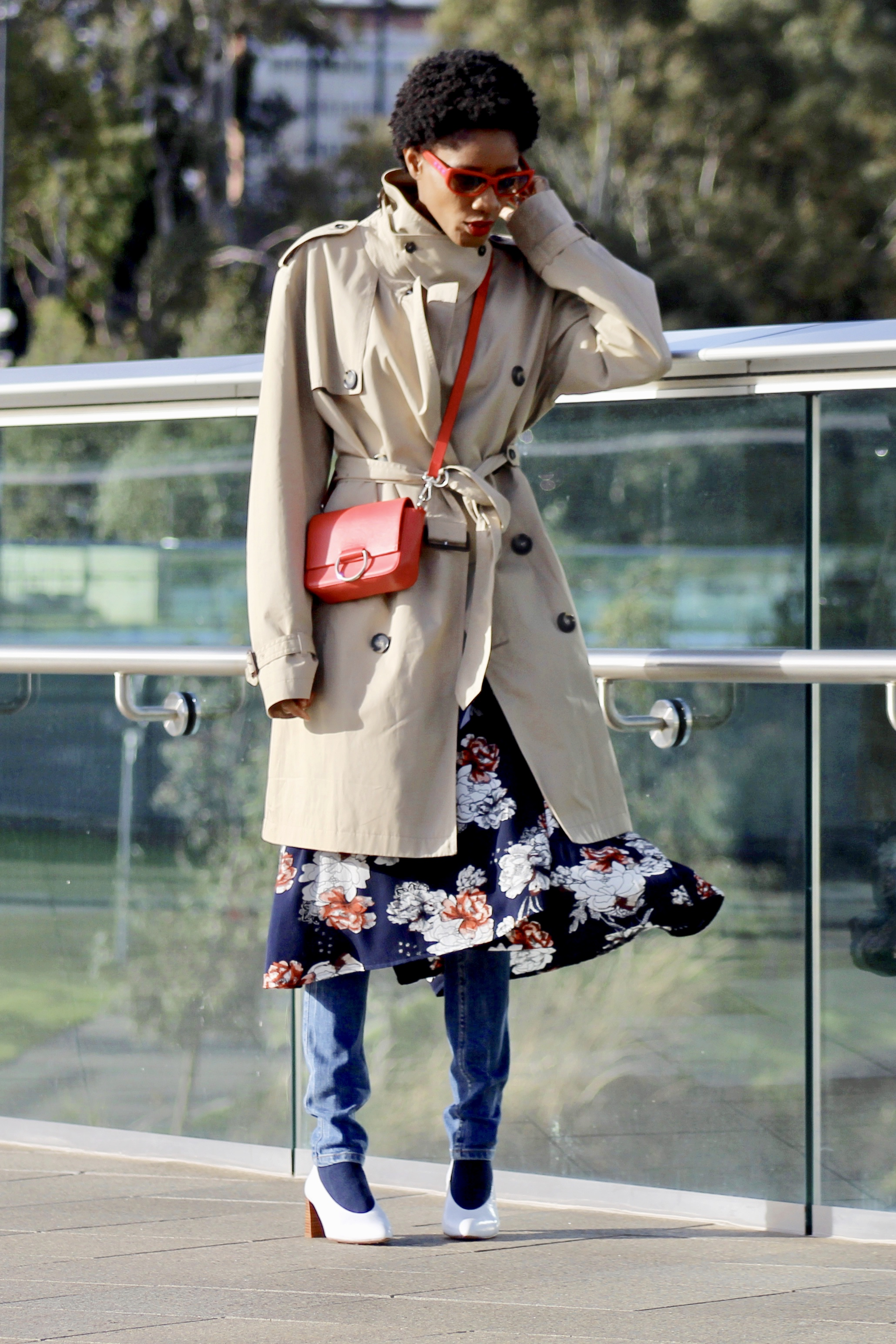 trench coat dress jeans white courts